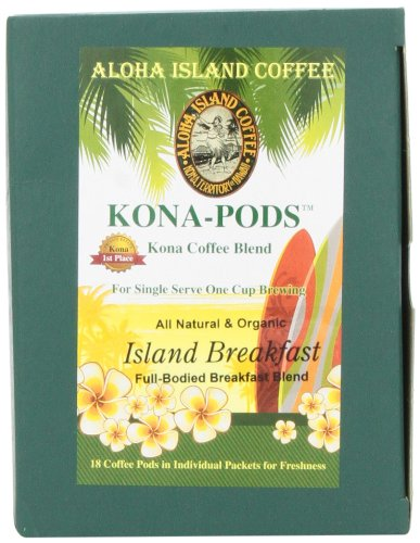 Aloha Island Coffee KONA-POD, Island Breakfast Med Light Roast, Kona & Hawaiian Coffee Blend, 36-Count Coffee Pods