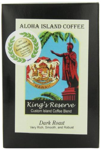 Aloha Island Kona Smooth Dark Roast Kings Reserve Hawaiian Blend Coffee Pods, 18 Pods, 18-Count