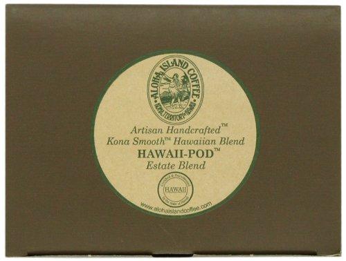 Aloha Island Coffee KONA-POD, Estate Blend Medium Roast, Kona & Hawaiian Coffee Blend, 36-Count Coffee Pods