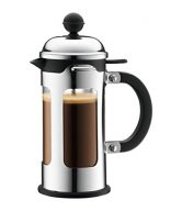 Bodum Chambord 3 Cup French Press Coffee Maker with Locking Lid, Stainless Steel, 12-Ounce